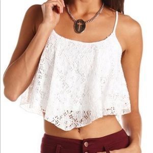 NWT White Crochet Lace Crop Top